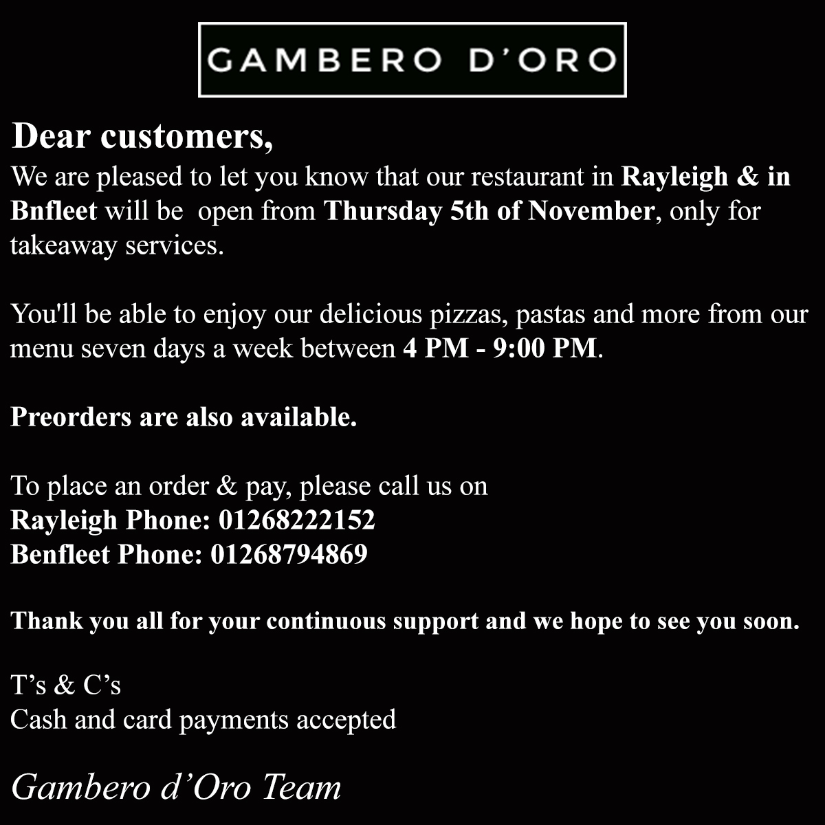 gambero doro takeaway rayleigh and benfleet